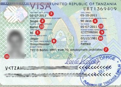 Visum Tansania